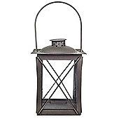 Farol' Charcoal Grey Metal Traditional 20cm Garden Lantern with Handle