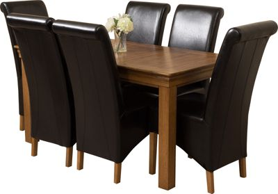 French Chateau Rustic Solid Oak 150 cm Dining Table with 6 Black Montana Leather Chairs