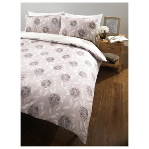 Tesco Floral Trail Double Duvet Cover Set, Neutral