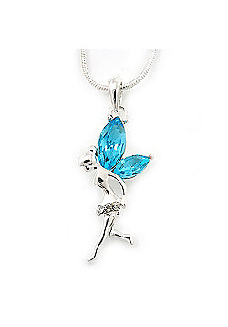 Delicate Aquamarine Coloured CZ 'Fairy' Pendant Necklace In Rhodium Plating - 42cm Length/ 5cm Extension - March Birth Stone