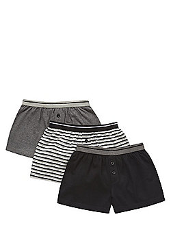 F&F 3 Pack of Plain and Striped Boxer Shorts - Multi