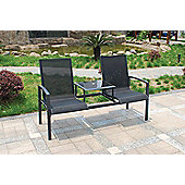 Steel Garden Companion Seat, Black, 2 seater