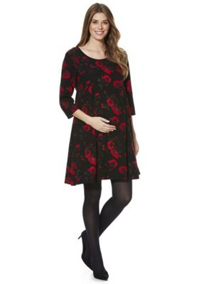 Mamalicious Floral 3/4 Sleeve Maternity Dress Black S
