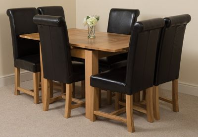 Richmond Solid Oak Extending 90 - 150 cm Dining Table with 6 Black Washington Leather Dining Chairs