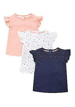F&F 3 Pack of Frill Cap Sleeve T-Shirts - Multi