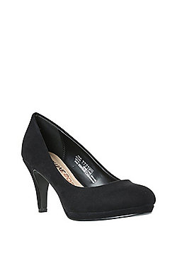 F&F Sensitive Sole Faux Suede Platform Court Shoes - Black