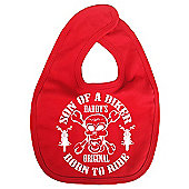 Dirty Fingers Son of a Biker Daddy's Original Born to Ride Bib Red