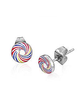Urban Male Colourful Swirl Design Resin & Stainless Steel Men's Stud Earrings 7mm