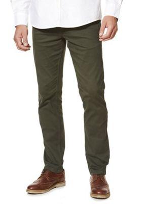 F&F Stretch Slim Leg Chinos 34 Waist 30 Leg Green