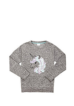 F&F Sequin Unicorn Knitted Top - Grey