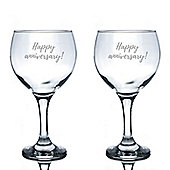 Rink Drink Engraved Spanish Gin Balloon Glasses - Happy Anniversary - 645ml - Pack of 2