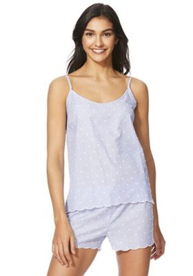 F&F Dobby Spot Cami and Shorts Pyjama Set Blue 20-22