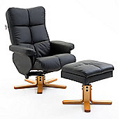 Homcom Adjustable PU Leather Recliner Swivel Chair and Storage Ottoman Footrest (Black)