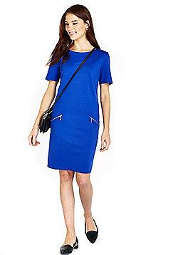 Wallis Petite Zip Detail Shift Dress - Blue