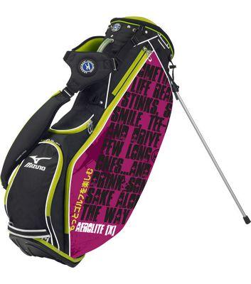 Mizuno Mens Aerolite X Sake Golf Bag (Stand) in Black & Purple & Green