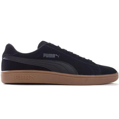 Puma Smash v2 Suede Mens Football Terrace Trainer Shoe Black/Gum - UK 7