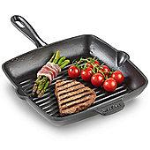 VonShef 26cm Black Cast Iron Griddle Pan