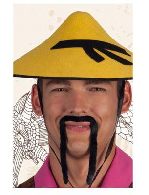 Black Chinese Stick On Moustache Fancy Dress Accessory