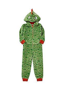F&F Alligator Face Fleece Hooded Onesie - Green