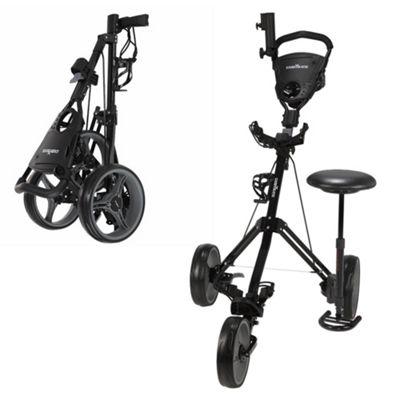 Caddymatic Golf X-Treme 3 Wheel Push/Pull Golf Trolley With Seat Black
