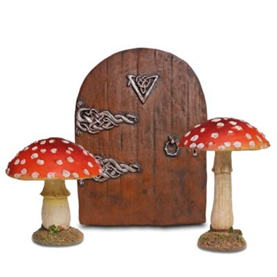 Fairy Garden Ornament Set with 2 Red Toadstool Mushrooms & Medium Fairy Door