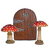 Fairy Garden Ornament Set with 2 Red Toadstool Mushrooms & Medium Fairy Door