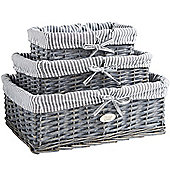 VonHaus Set of 3 Grey Wicker Storage Baskets with Removable Stripe Fabric Lining