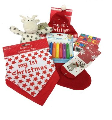 Baby's My First Christmas Pre Filled Stocking - 5 Items Included