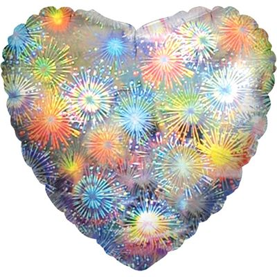 Holographic Fireworks Heart Balloon - 32 inch Foil