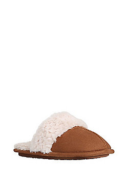 F&F Faux Fur Lined Mule Slippers - Brown