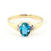 QP Jewellers Diamond & Blue Topaz Oval Desire Ring in 14K Gold
