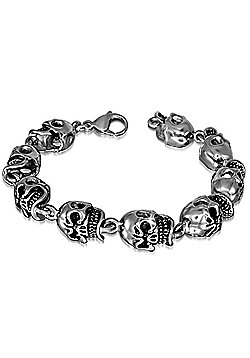 Urban Male High Quality Stainless Steel Men's Nine Link Skull Bracelet