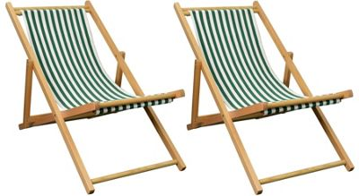 Pack of 2 Harbour Housewares Garden Deck Chairs - 3 Positions - Green / White Stripe