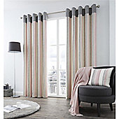 Fusion Rydell Stripe Eyelet Curtains - Pink