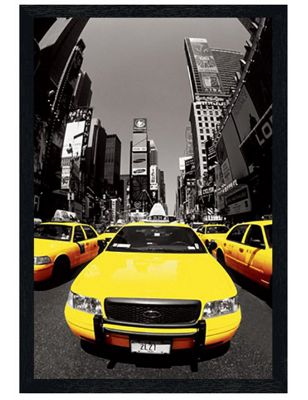 New York City Black Wooden Framed Yellow Cabs Poster