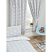 "Grey and White Stars Lined 54"" Curtains"