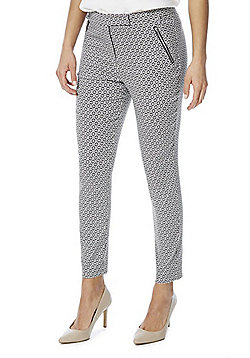 F&F Tile Print Bengaline High Rise Skinny Trousers - Pink & Navy