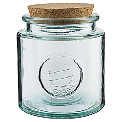 Recycled Glass Storage Jar With Cork Lid Small