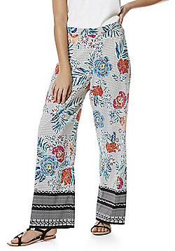 F&F Tropical Floral and Spot Print Palazzo Pants - Multi