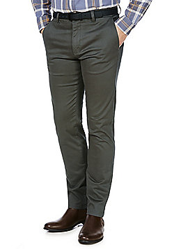 F&F Sateen Slim Fit Stretch Chinos with Belt - Charcoal