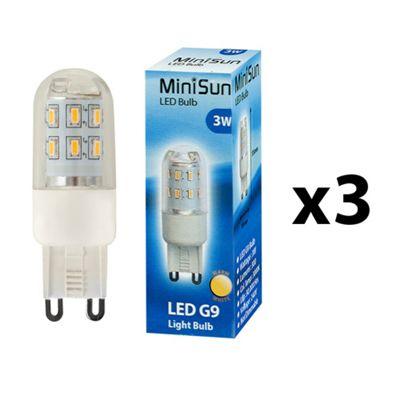 Pack of 3 Minisun 3W High Power LED G9 Light Bulbs in Warm White