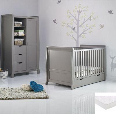 Obaby Stamford Classic 2 Piece Cot Bed/Wardrobe + Sprung Mattress - Warm Grey