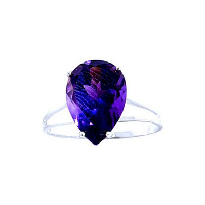 QP Jewellers 5.0ct Amethyst Pear Drop Ring in 14K White Gold - Size D 1/2