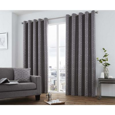 Curtina Camberwell Graphite Eyelet Curtains - 46x54 Inches (117x137cm)