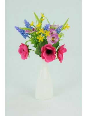 Artificial - Anemone & Pansy Bundle in Porcelain - Multi
