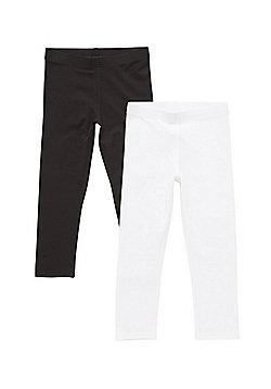 F&F 2 Pack of Cropped Leggings - Black & White
