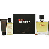 Hermes Terre D'Hermes Gift Set 75ml Pure Perfume + 15ml Aftershave Balm + 40ml Shower Gel For Men