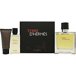 Hermes Terre D'Hermes Gift Set 75ml Pure Perfume + 15ml Aftershave Balm + 40ml Shower Gel For Men