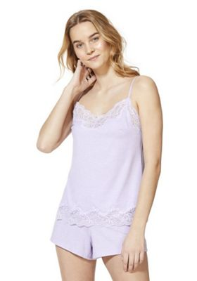 F&F Lace Trim Cami and Shorts Pyjama Set Lilac 16-18