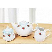3 Piece Vintage Rose Pastel Blue Tea set